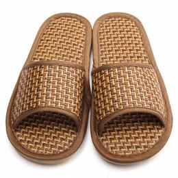 Wholesale Natural Rubber Flooring - Wholesale- Hot Sale Summer Natural Bamboo Home Shoes Flax Antiskid Light Lover Women&Men Rattan Mat Bottom Floor Cool Slippers Pantufas