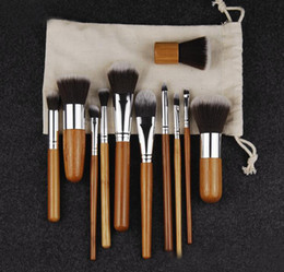 Wholesale Bag Concealer - Professional Bamboo Make Up Brush Sets 11 Pcs Cosmetics Makeup Maquiagem Concealer Cosmetic Brushes Kits with Draw String bag
