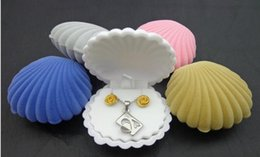 Wholesale Color Velvet Ring Box - Cute Candy Color Wedding Elegant Shell Shape Velvet Jewelry Rings Box Pendant Locket Container Case New Fashion
