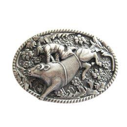 Wholesale Bull Buckles - New Vintage Silver Plated Western Cowboy Bull Rodeo Belt Buckle Gurtelschnalle Boucle de ceinture BUCKLE-WT044SL Free Shipping