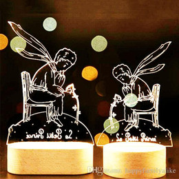 Wholesale Christmas Desk - 3D Acrylic LED Little Prince Fox Rose Night Lamp Wood Base Light LED Table Desk Novelty Kids Birthday Christmas Gifts Party Decorations