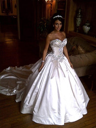 Wholesale Cheap Sparkly Wedding Dresses - Ivory Bling Pnina Tornai Wedding Dresses 2017 Sweetheart Ball Gowns Sparkly Crystal Backless Cathedral Long Train Bridal Gowns Cheap