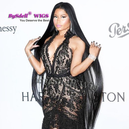 Wholesale Super Black Hair - Celebrity Nicki Minaj Super Long Wig synthetic Black 32inch  52inch  70inch waist  Feet Length Silk Straight Hair Full Wig Scalp Wig