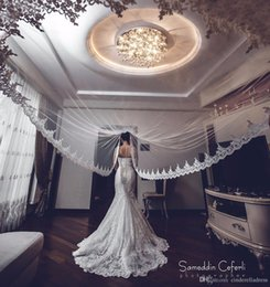 Wholesale Ivory Wedding Head - Hot Sale White Ivory Applique Tulle 3 Meters Long Bridal Head Veils With Comb Wedding Accessories Lace Bridal Veil veu de noiva CPA068