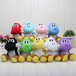 "Wholesale mario plush figure - 9Pcs set Super Mario Bros New 7"" yoshi Plush Doll Figure Toy 9 color yoshi green black red yellow blue"
