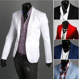 Wholesale Slim Fit Fashion Men Suit - Wholesale- Fashion Blazer Men 2017 New Spring Autumn Clothing Candy Colors Blazer masculino Casual Slim Fit Wild terno Men's Suit Jacket