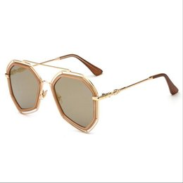 Wholesale Ac Accessories - sun glasses Casual mirror Sunglasses for women men UV400 AC metal frame Fashion summer beach Accessories new Unisex Dazzling Polygon