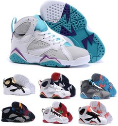 Wholesale Cheap China Kid Shoes - Cheap Kids Retro 7 Shoes Children Boys Girls Baby Toddler Air Retro 7s Basketball Shoes China Brands Blue Authentic Sneakers Size 11C-3Y