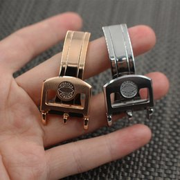 Wholesale 18mm Rose Gold Watch Band - 18mm Watch bands Strap Buckle Solid Stainless Steel Rose Gold Silver Luxury Deployments Clasp For IWC Watch