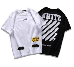 Wholesale O Neck T Shirt Women - OFF WHITE T-shirts Women Men T Shirt Cotton O-neck Fashion Off White Short Sleeve High Quality Black White Graffiti VLONE Tshirt
