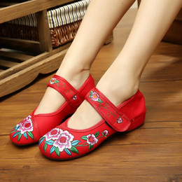 Wholesale Black Flat Mary Jane Shoes - Plus Size 34-41 Fashion Women Shoes, Old Beijing Mary Jane Flats With Casual Shoes, Chinese Style Embroidered Cloth shoes woman