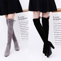 Wholesale Long Black Boot Laces - New Women's Over Knee High Boot Lace Up high heel Long Thigh Boots Shoes