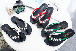 Wholesale Rhinestones Flower Flip Flops - New Leadcat Fenty Rihanna Flip Flops Women Sweet Little Flower Rhinestones Sandals Girls Fashion Scuffs White Grey Pink Black Slide