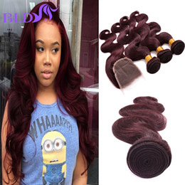 Wholesale Peruvian Wavy Lace Closure - 99J Body Wave Hair With 4X4 Lace Closure Burgundy Peruvian Human Hair Bundles With Top Closure Wine Red Wavy Hair