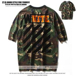 Wholesale Green Stripe Long Sleeve Shirt - High Quality Brand OFF WHITE New Tees Army Green Camouflage Flocking Stripe Men Women Pure Cotton Five sleeves Long T-shirt