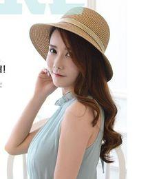Wholesale Grass Shades - Ladies summer beach shade hat vacation vacation fisherman outdoor beach sun straw hat
