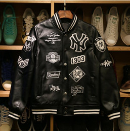 Wholesale Slim Leather Stand Collar - MLB Men jackets 2017 Brand Caual Mens new york yankees Genuine leather coat Fashion Hip Hop basketball jacket Sweatshirts