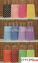 Wholesale Dots Gift Paper Bag - 210*130*80mm Hot Polka Dot kraft paper gift bag Festival gift bags Paper bag with handles wholesale