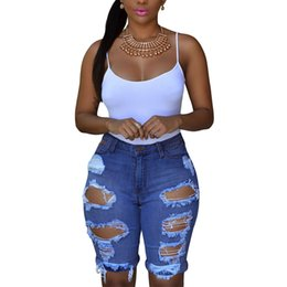 Wholesale High Waisted Button Denim Jeans - Free Shipping !Blue White  Black Denim Destroyed Bermuda Shorts Women Ripped Hole Plus Size XXL High Waisted Jeans Short Feminino 78649