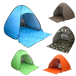 Wholesale Red Car Sun Shade - 19COLORS Portable Tent Quick Automatic Open Pop Up Beach Tent Waterproof Summer Sun Shelter Shade UV Protection 2-3 Person Tent