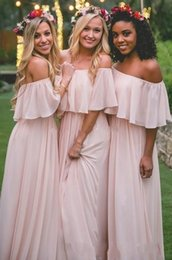 Wholesale baby pink bridesmaids dresses - New Design Baby Pink 2017 A line Bridesmaid Dresses Bateau with Ruffles Empire Chiffon Floor-length Formal Prom Party Dresses