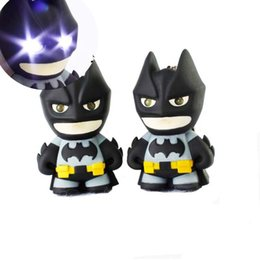 Wholesale plastic bag movie - Batman Keychain Batman Action Figure Toys Light LED Key Chain Key Rings Pendants Bag Hangs fashion Jewelry DROP SHIP 170866