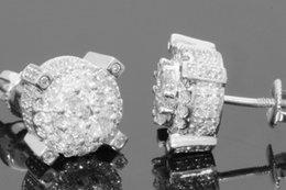 Wholesale Mens Gold Earring - 10K WHITE GOLD 1 MENS WOMENS 8 mm 100% GENUINE DIAMONDS EARRING STUDS