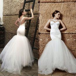 Wholesale Elegant Bridal Dress Wedding Wear - Elegant Fit and Flare Wedding Dresses Sheer Neck Pearls Lace Appliques Illusion Back Mermaid Wedding Gowns Tulle Bridal Wear LS 31-6