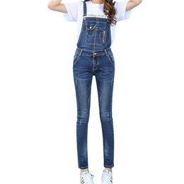 Jeans ajustados monos mujer online-Al por mayor- Stretch Denim Jumpsuits Femme Women Jeans Casual Vintage Skinny Washed Denim Ropa de mujer en general Envío gratis