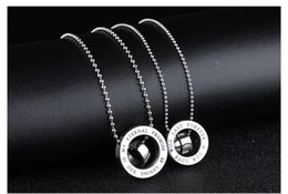 Wholesale Wholesale Jewelries - Christmas gift*lovers 316L stainless steel necklace with pendant chain fashion jewelries couple necklaces crown pendents love oath