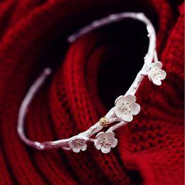 Wholesale Sterling Branch - Creative Bracelets & Bangles 925-Sterling-Silver Plum Flower Branches Bracelets For Women Female Jewelry Gift Bracciali Q49