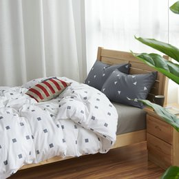 Wholesale Fitted King Sheet Blue - Wholesale- 100% Cotton Nordic Style Bedding Set 3 4pcs Quilt Cover Geometric Duvet Cover Bed sheet Fitted sheet Pillowcase King Queen Twin