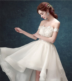 Wholesale Mading Simple - Two Pieces Wedding Dresses 2016 High Neck Long Sleeves Lace Crop Top Appliques Tulle Wedding Gowns Hi-Lo Beach Simple Romance Bridal Dresses