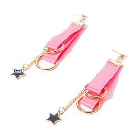 Wholesale Handmade Earrings Designs - Handmade Pink Dangle Earrings Star Design Trendy Ribbon Earring Women Accessories Gothic Jewelry Earrings For Women