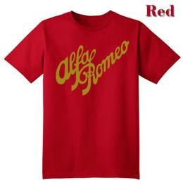 Wholesale Alfa White - Alfa Romeo Script in ROSSO classico Tees T shirt Alfa Romeo Italia Italiano Camiseta T-Shirt di Alta qualità di stampa Lettera Casuale vesti