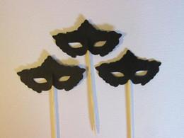 Wholesale Bridal Masquerade Masks - Custom 30pcs Masquerade mask toothpicks engagement cupcake topper wedding food pick bachelorette bridal shower party decorations