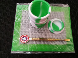Wholesale Wholesale Drum Kits - Silicone Wax Kit Set with square sheets pads mat barrel drum 26ml oil container Captain America dabber tool for dry herb jars dab