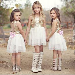 Wholesale Tutu Heart Dress Loving - Big Girls Sequins lace Vest dress for 3-8T Loving Heart Hollow out Backless Sun dress Pretty princess Bowknot dancing dress