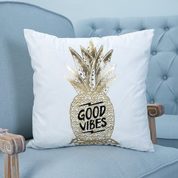 Wholesale Gold Car Seat Covers - Gold Printed Pillow Cover Decorative Pillow Case Bronzing Cushion Cover for Sofa Seat Car Cotton Linen Pillowcase