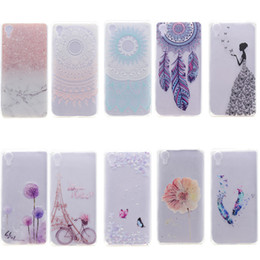 Wholesale Xperia Mobiles - Transparent TPU Cover For SONY Xperia X Case Colour decoration Tower bike Butterfly Girl Feather Design Mobile Phone Case