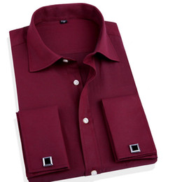 Wholesale Fit French - Wholesale- Fashion Men Business Shirts French Cuff Button Men Dress Shirts Cotton Solid shirt with Long Sleeve slim fit designer shirts