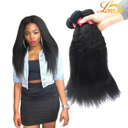 Wholesale Coarse Virgin Hair - 7A Brazilian Yaki kinky straight Virgin Hair 3Pcs   lot Brazilian Kinky Straight Coarse Yaki Hair Bundles Natural Color #1B