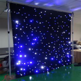 Wholesale Led Wedding Backdrop - led star curtain 3mx8m wedding backdrop stage background cloth with multi controller dmx function