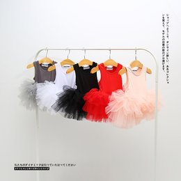Wholesale Knee Skirts - INS styles 5 color new arrival Girl romper dress kids summer sleeveless high quality cotton cute Ballet dance skirt girl elegant dress