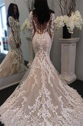 Wholesale Wedding Dresses V Neck Satin - Sexy Illusion Mermaid Wedding Dresses Long Sleeves Lace Applique Illusion Back Lace Applique Wedding Bridal Gowns Custom Made