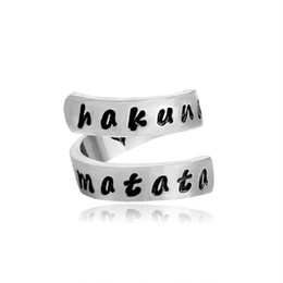 Wholesale wholesale aluminum jewelry rings - Hakuna Matata Lion King Twisted Ring Silver Hand Stamped Opening Jewelry Double layer Aluminum Ring Gift For Women Men