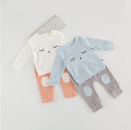 Wholesale Eyes Pants - Baby Outfits 2017 Eyes Tops Patch Striped Pants Boys Clothing Sets Two Piece Suit Infant Toddler Outwear Sets Ins Baby Boys Girls Clothes