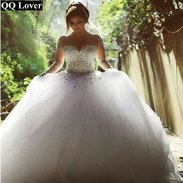 Wholesale Lace Cap Sleeve Bridal Gown - Wedding Dress 2017 Vestido De Noiva Long Sleeve Wedding dress Bridal Gown Rhinestones Pearls Crystals Ball Gown Robe De Mariage custom made
