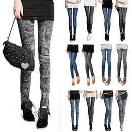 Wholesale Sexy Jeans Free Shipping - Fashion Women Leggings for Women Polyester Spandex Jeans Hole Pleated Prints Casual Denim Sexy Leggings free shipping