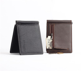 Wholesale First Coffee - Wholesale- Men Wallets First layer 100% Genuine Leather Black Coffee Personality Design Wallet Short Style Card Holder Purse Free Shipping